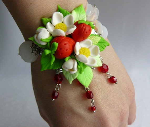 Just delicious polymer clay bracelet with  strawberries.