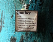 Vintage Dictionary Word Mother Glass Necklace