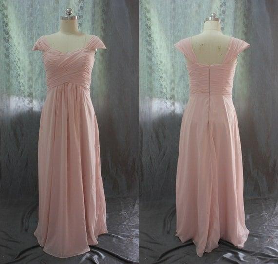 Custom Made Cap Sleeve Chiffon Blush Pink Bridesmaid Dresses,Prom Dress,Simple Gown