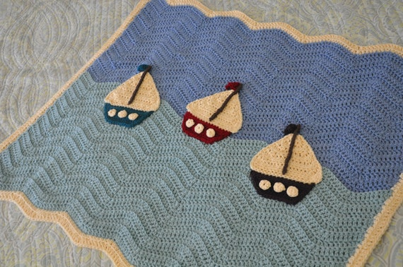 Crochet Baby Boy Blanket - Sailboat  Blanket - Ripple Blanket