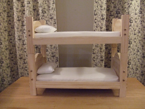 Bunk Bed for American Girl Doll or 18 inch Doll - Toy Doll Bed - Includes Mattresses and Pillows - Traditional Style