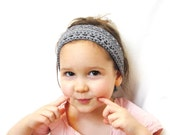 crochet hair band or hairwrap with knit ties for girls, women, and teens - slate blue grey, soft, all natural fibers, ready to ship - BaruchsLullaby
