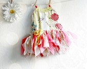 Shabby Chic Yellow Baby Dress Children's Clothing Woodland Fairy Dress Pink Floral Sundress Baby's First Birthday 18M 'REESE' - BrokenGhostClothing
