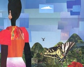 Woman, Sky and Butterfly ORIGINAL COLLAGE