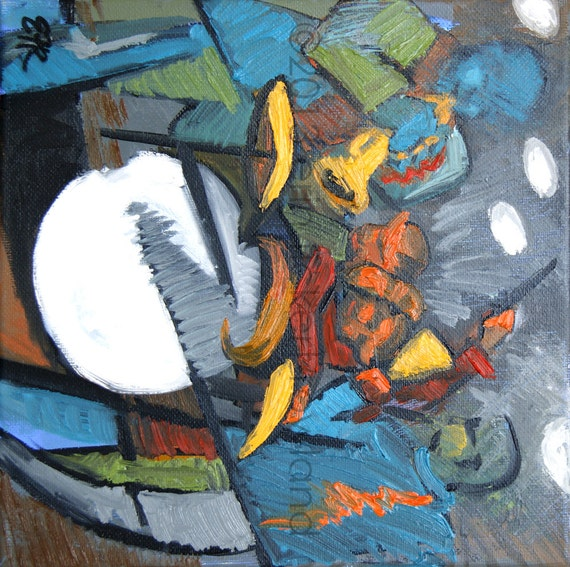 Modern Abstract Expressionist Jazz Painting-The Jazz Trio- Original Oil on Canvas by Erin Fickert-Rowland