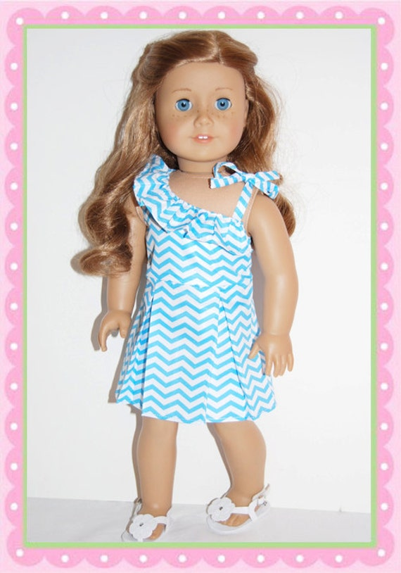 American Girl/ 18 Inch Doll Summer Chevron Dress