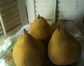 Large Farmhouse Primitive Pear Bowl Ornies Grunged Cinnamon Folk Art FAAP CPLG ECS