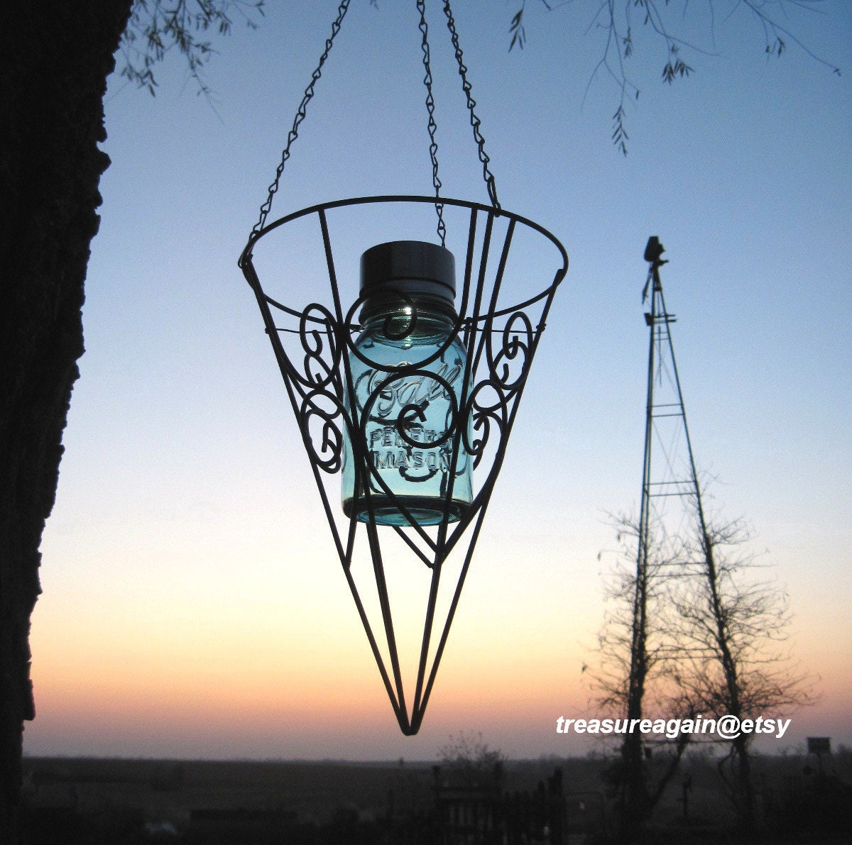 Mason Jar Outdoor Decor Light Solar Mason Jar by treasureagain