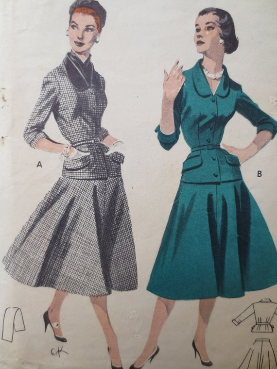Vintage Butterick 7445 Sewing Pattern, 1950s Suit Pattern, Bust 30 Inches, Midcentury Suit, Full Skirted Suit, 1950s Sewing Pattern