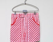 Vintage 1970s Mens Shorts / 70s CATALINA Red Gingham Seersucker Swim Trunks Pool Pants / Small - RanchQueenVintage
