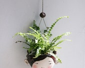 Ceramic mini hanging planter - Piper - chocolate brown and red-succulent or air plant - jolucksted