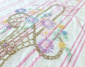 Hand Embroidered Floral Seersucker Bedspread in Pink and Creamy White with Pastel Flowers Coverlet Twin Full Size - BornAtTheWrongTime