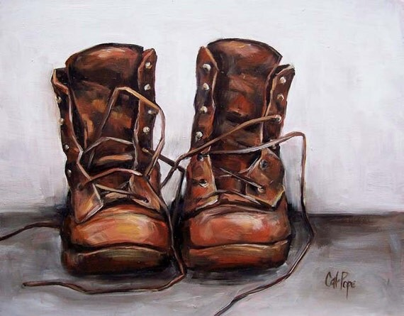 Old Leather Boots - oil painting, vintage leather workboots