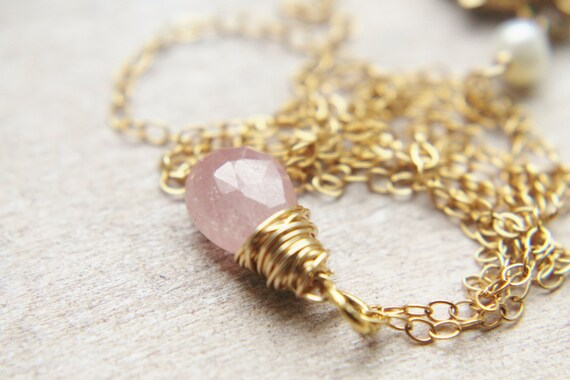 Pink Sapphire Necklace - Small 14k Gold Wire Wrapped Light Raspberry Gemstone Handmade Jewelry Gifts for Her SALE.