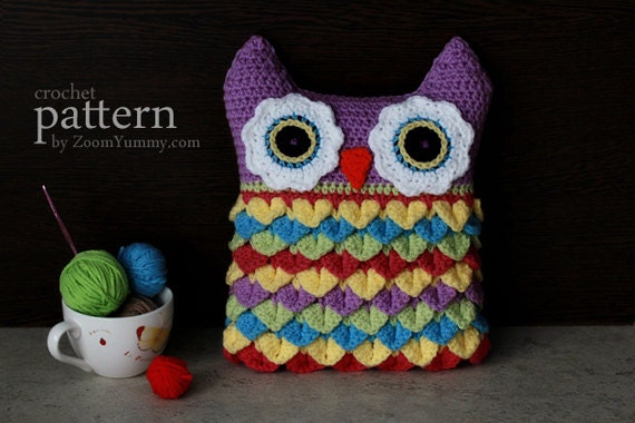 Crochet Pattern Crochet Owl Cushion With Colorful Feathers PDF Pattern With Step-by-Step Picture Tutorial