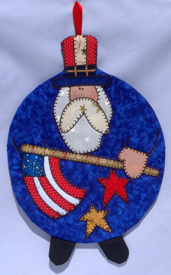 Uncle Sam Mug Rug Red Polka Dots
