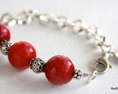 SALE... Red Jade bracelet with sterling silver beads, sterling silver chain and a sterling silver coin charm dangling on the side