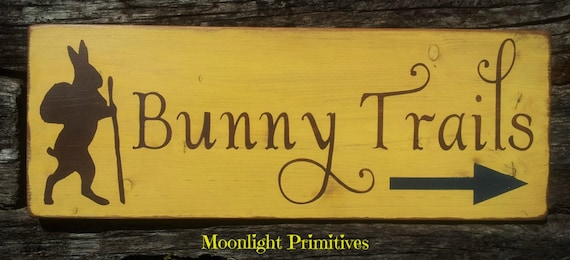 Bunny Trails, Easter, Spring, Easter Rabbit, Old Fashioned, Rustic, Hand Painted, Handmade, Primitive, Distressed, Wooden Signs