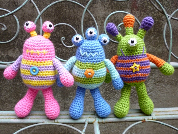Bug Eyed Monsters Amigurumi Crochet Pattern, Tarquin, Theodore and Winston.