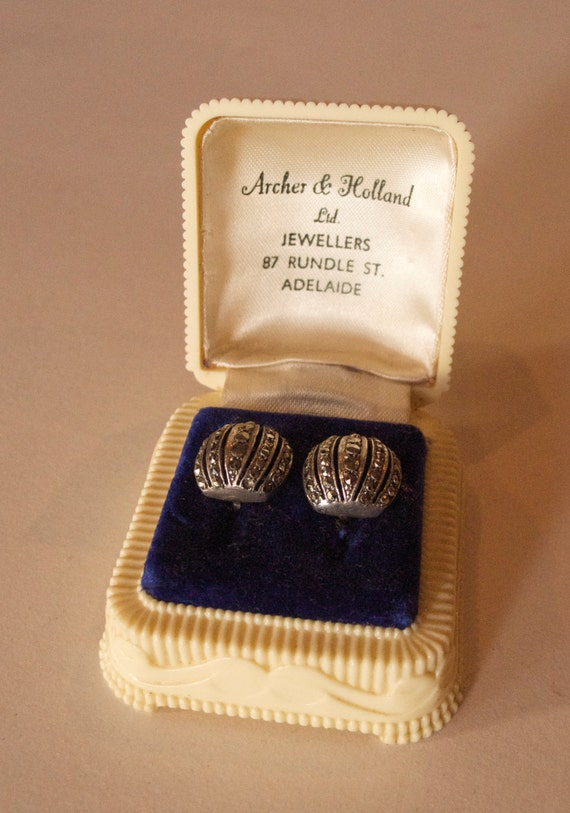 Vintage 1930s Marcasite Earrings in Original AArt Deco Box