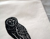 Barn owl hand printed women's shoe bag - woodland bird, black, rustic, cotton, travel, storage - Corydora