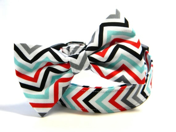 Chevron Bow Tie Dog Collar: Chevron in Aqua, Red, Gray, and Black... ZigZag, Bowtie, Pet Collar