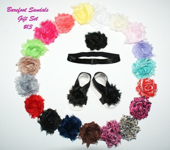 Barefoot Baby Sandals with matching headband or Hair Clip by CoolBabyBoutique