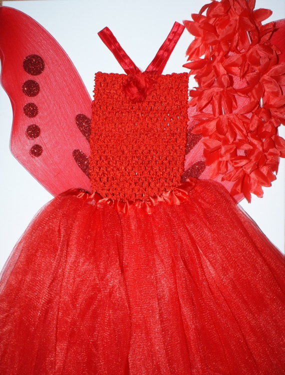 Red Fairy wings and tutu outfit, birthday party costume, fantasy outfit by Coolbabyboutique