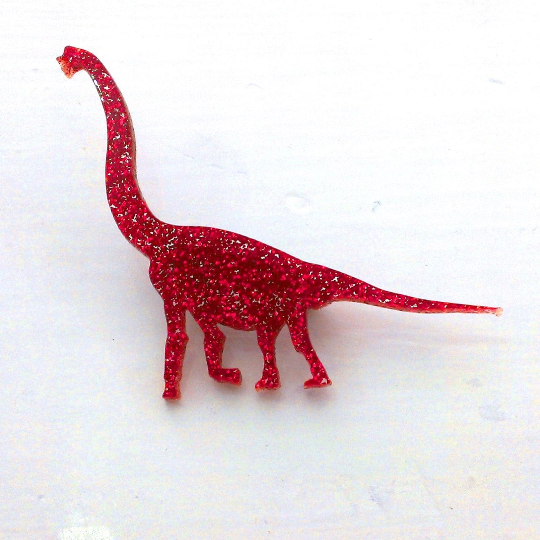 designosaur Brachiosaurus Glitter Dinosaur Brooch