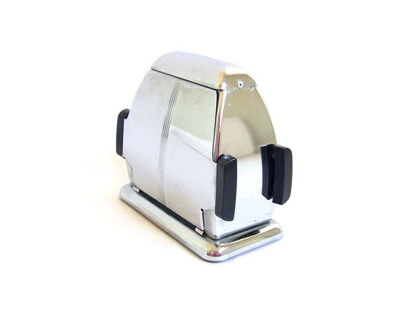 Vintage Art Deco Toaster Two Door Drop Side Slots Shiny Silver Chrome Black Bakelite Plastic 1920s 1930s Breakfast Kitchen Decor