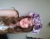 Floral flower crown / headpiece / headband / wreath with lilac silk roses festival - 'Esmerelda' - ParadiseShore