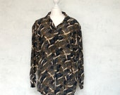 VTG 100% silk 80th sailors blouse navy blue and brown - Silkheaven