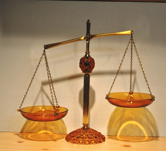 Very Nice Amber Glass and Brass Adjustable Scale