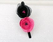 Flower Headband Neon Pink and Black Organza Tulle Satin