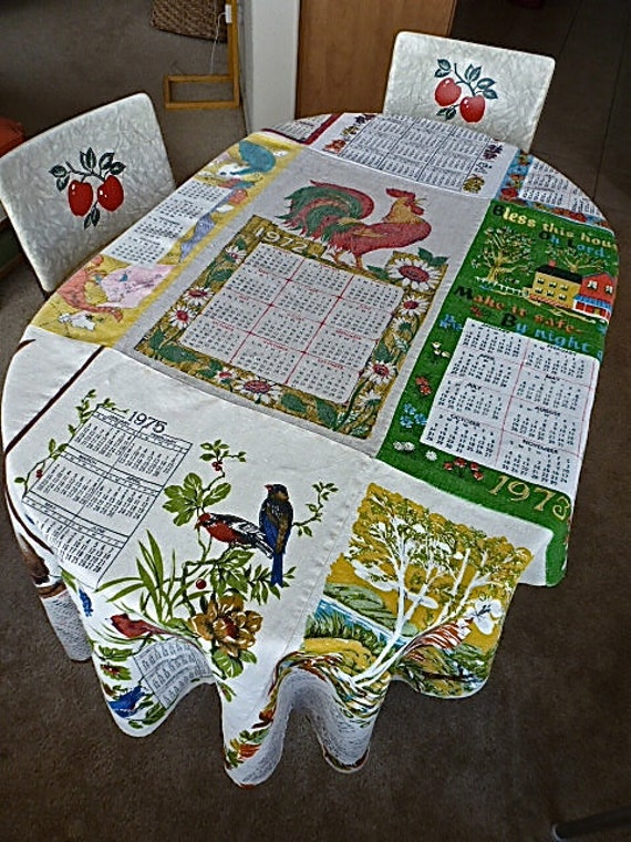 Fun Tablecloth made from Nine Vintage Calendar Dish Towels Dated 1968-1976