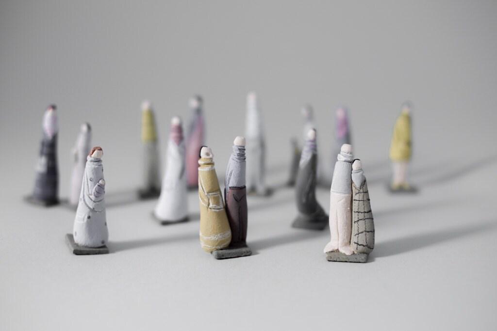 """Stoneware Sculptures """" Passersby """" by Murtiga"""