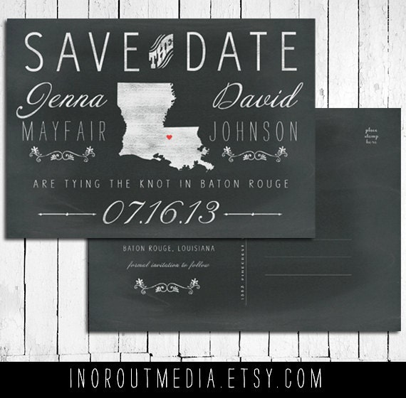 State Save the Date Card -  Chalkboard card with postcard back, ANY city & state - STD, personalized Save the Date postcard