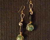 Sophisticated Lady - African Glass Bead Earrings, Ethnic Jewelry, Wire Jewelry