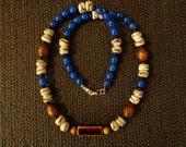 Ocean Meditation - FTM Collection Krobo Beads, Men's Jewelry, Men's Necklace, Men's Tribal Necklace