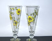 Modern Glasses 16 oz Yellow Black Design Upcycled Home Interior Household Decor Beverages Cocktails Barware Glassware Wedding Bridal Shower