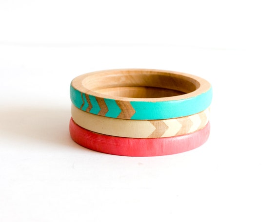Coral Mint Bracelets, Arrow Neon Bangle, Tribal, Geometry Jewelry, Summer Fashion, Set of 3 Eco Friendly Bangles