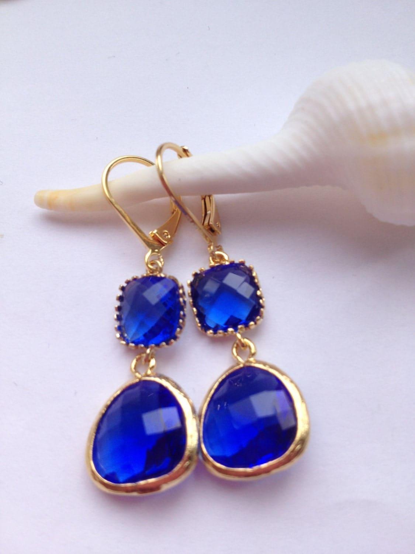 large blue sapphire drop earrings gold framed earrings