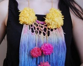 PomPom - hand dyed fringe necklace / murMur