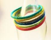 Set of Two Handmade Double Strand Coiled Hemp Color Blocking Bangles - You Choose Colors