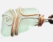 Irish Beach Glass & Copper Pendant or Ornament. Stirring Sea