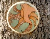 Octopus Wood Burned Art // Nautical Pyrography Art - TheNauticalOwl