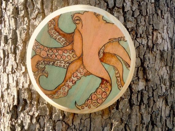 Octopus Wood Burned Art // Nautical Pyrography Art