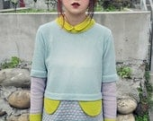 Pastel colour jumper with decorative flaps  // Hand machine knit // For her // For him - YuSquare