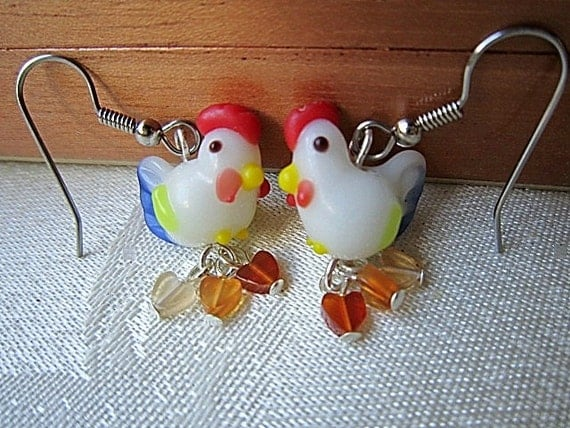 Lampwork Chicken Earrings with Red Agate Hearts