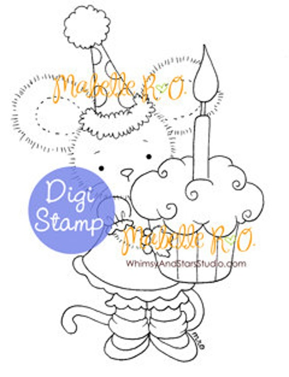 Instant Download Digi Stamp: Lucy's Cupcake